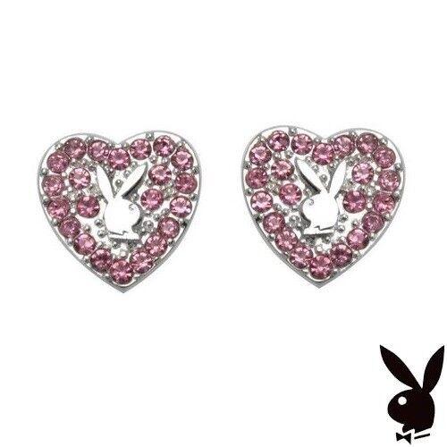 Playboy Earrings Ear Stud Silver Heart Bunny Pink Swarovski Crystal Gem CZ NIB