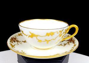"""D & CO DELINIERES LIMOGES FRANCE GOLD FLORAL 1 5/8"""" DEMITASSE CUP & SAUCER 1894-"""