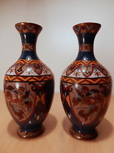 Paire-vase-chinois-email-emaux-cloisonnes-Chine-Asie-oiseau-dragon-emaille