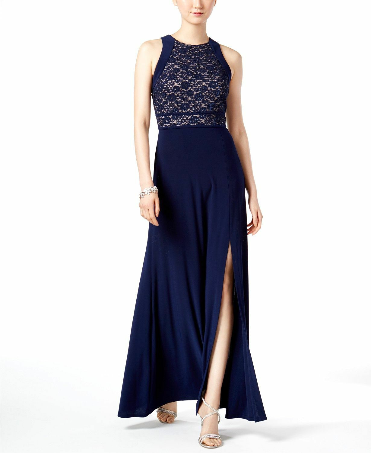 299 NIGHTWAY WOMEN'S blueE GLITTER SEQUINED LACE GOWN PETITE SLIT DRESS SIZE 10P