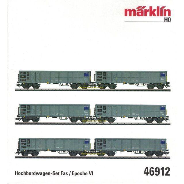 **   46912 h0 AC 6 pezzi alta bordo carrello-Set FAS, SBB Cargo, Nuovo OVP **