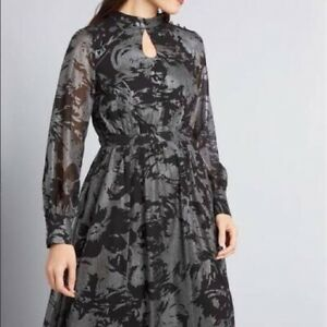 ModCloth-S-Negro-Plata-Vestido-Formal-Manga-Larga-para-Mujer-Nuevo-sin-etiquetas-Metalico