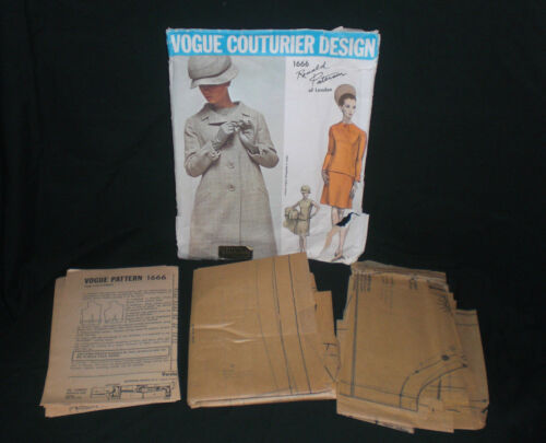 Vtg 60's Vogue Couturier Ronald Paterson SKIRT, BLOUSE, & COAT Pattern 1666 12