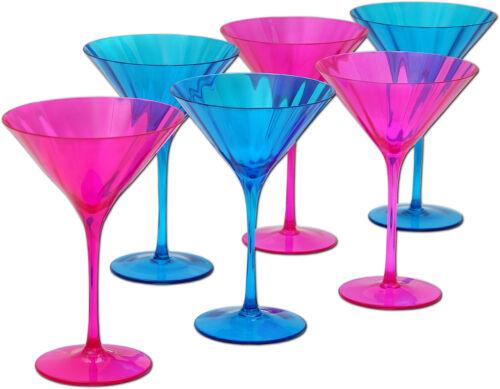 6x Martiniglas Martinigläser Cocktailglas bunt farbig Mundgeblasenes Glas