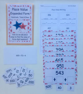 Details about Teacher Made Math Center Game Place Value Expanded Form  Hundreds Tens Ones