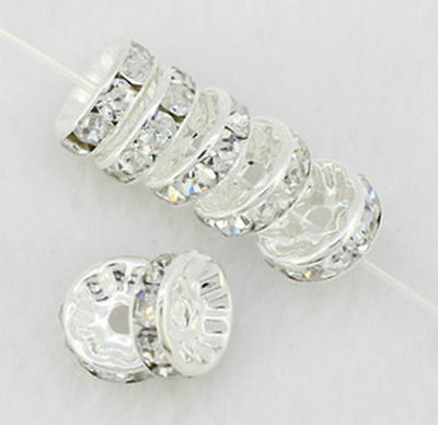 100 10mm White Silver Plated CZ Crystal Rhinestone Spacer Loose Beads Findings