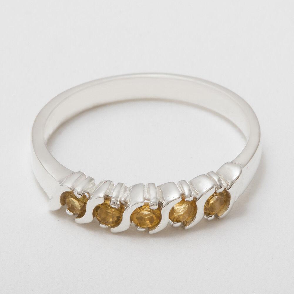 Solido 14ct Bianco oro oro oro Naturale Citrino Da Donna Eternity anello-Taglie J a Z 4f33c4