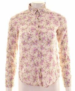 BENETTON-Womens-Shirt-Size-6-XS-White-Floral-Cotton-Loose-Fit-EN12