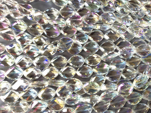 Crystal AB Twisted Navette Marquis 17x13mm Chinese Crystal Glass Beads Q2 Strand