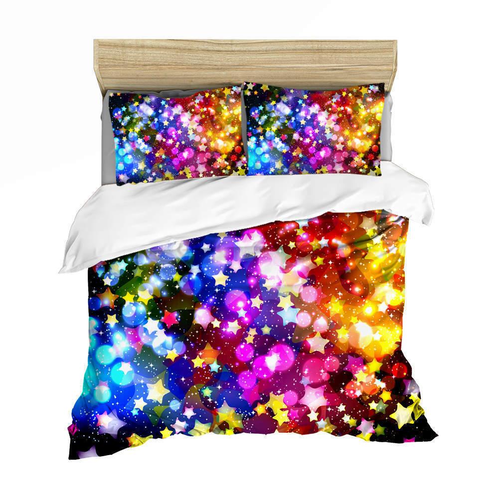 Great Stars Shine 3D Quilt Duvet Doona Cover Set Single Double Queen King Print