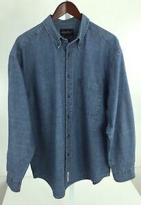 Eddie-Bauer-Mens-Large-Blue-Denim-Long-Sleeve-Button-Front-Shirt-R-40