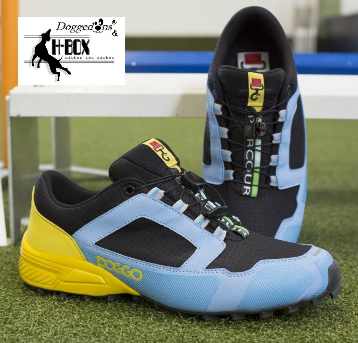 Doggo Parcours,Agilityschuhe,Hundesportschuhe hellblau gelb   | Hohe Qualität und Wirtschaftlichkeit