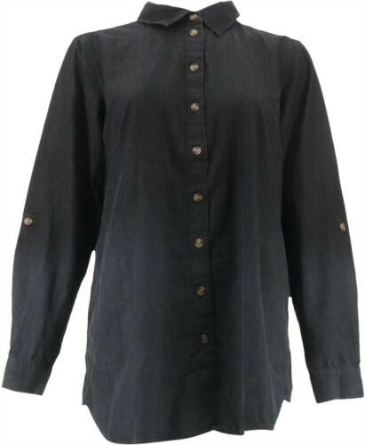 Joan Rivers Length Denim Shirt Sand Wash Black L NEW A310909