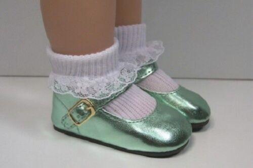 "LT GREEN Metallic Doll Shoes Fits 18/"" Effanbee Katie Dolls Debs"