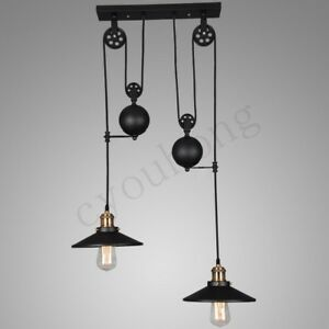 Image Is Loading Vintage Hanging Pulley Pendant Lights Retro Retractable