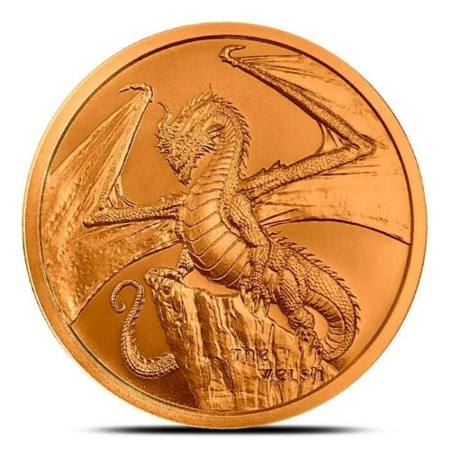 1 oz Pure Solid Copper Art-Round BU The Welsh ~ World of Dragons Series ~ New