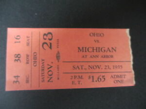 1935 Ohio State Vs Michigan Football Ticket Official Reproduction Ebay