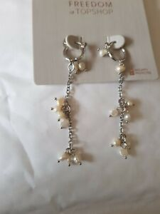 Freedom At Topshop Fresh Water Pearl Silver Dangle Chain Earrings