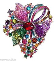 Elegant Multicolor Baguette & Round Crystal Pendant / Brooch /pin - Great Gifts