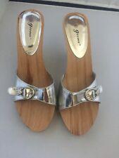 Super Cute Geena Wedge Slip On Heels Women's 10 Silver Wood Look