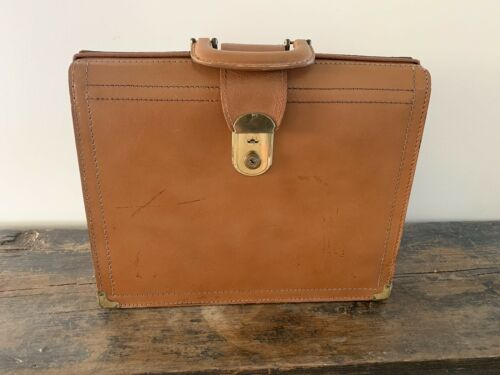 Vintage 1950s Stronghold Cowhide Leather Briefcase