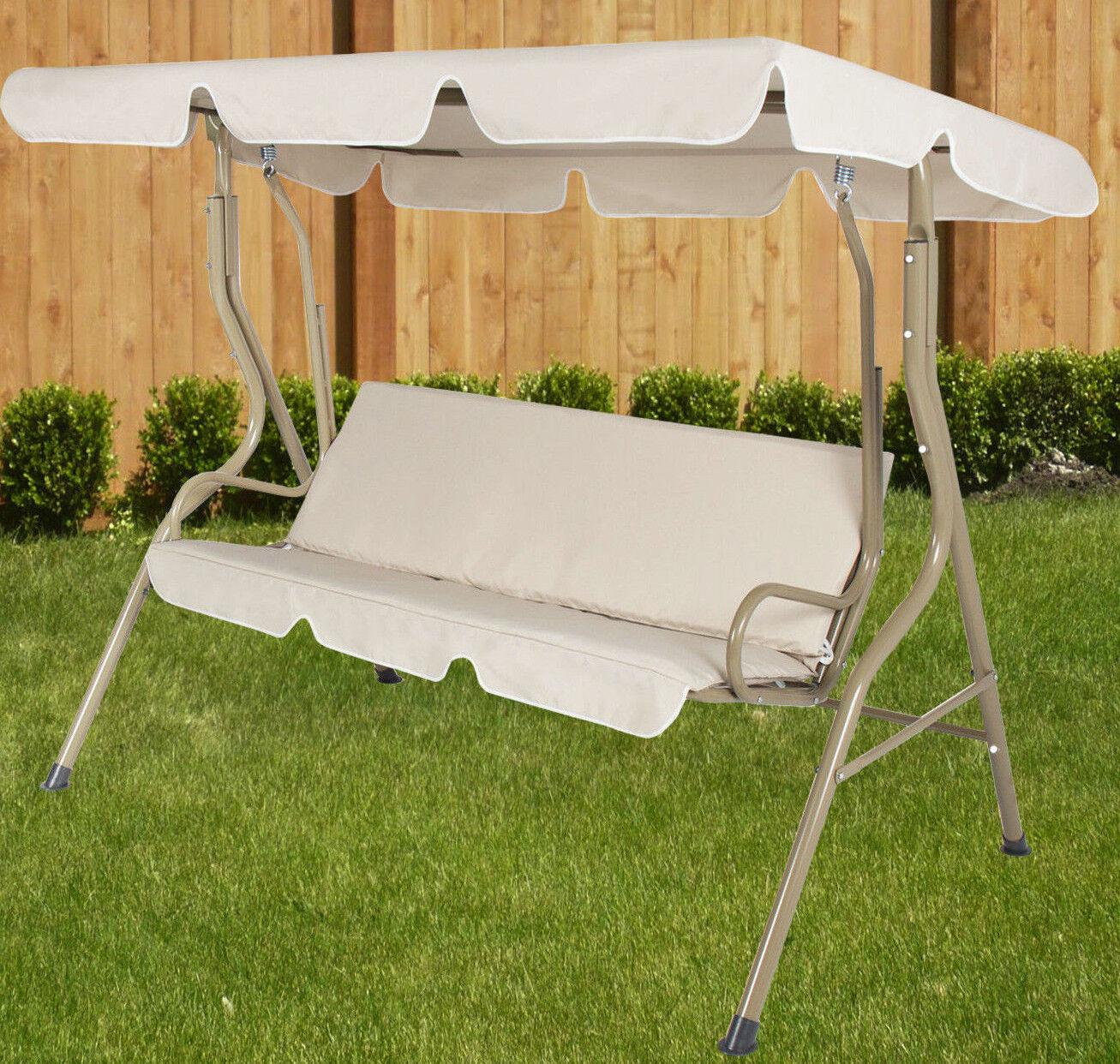 person beige canopy swing hammock seat backyard patio furniture