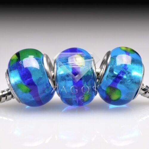5stk.Muranoglas Perlen Lampwork Großlochperlen Spacer European Beads PLLB106