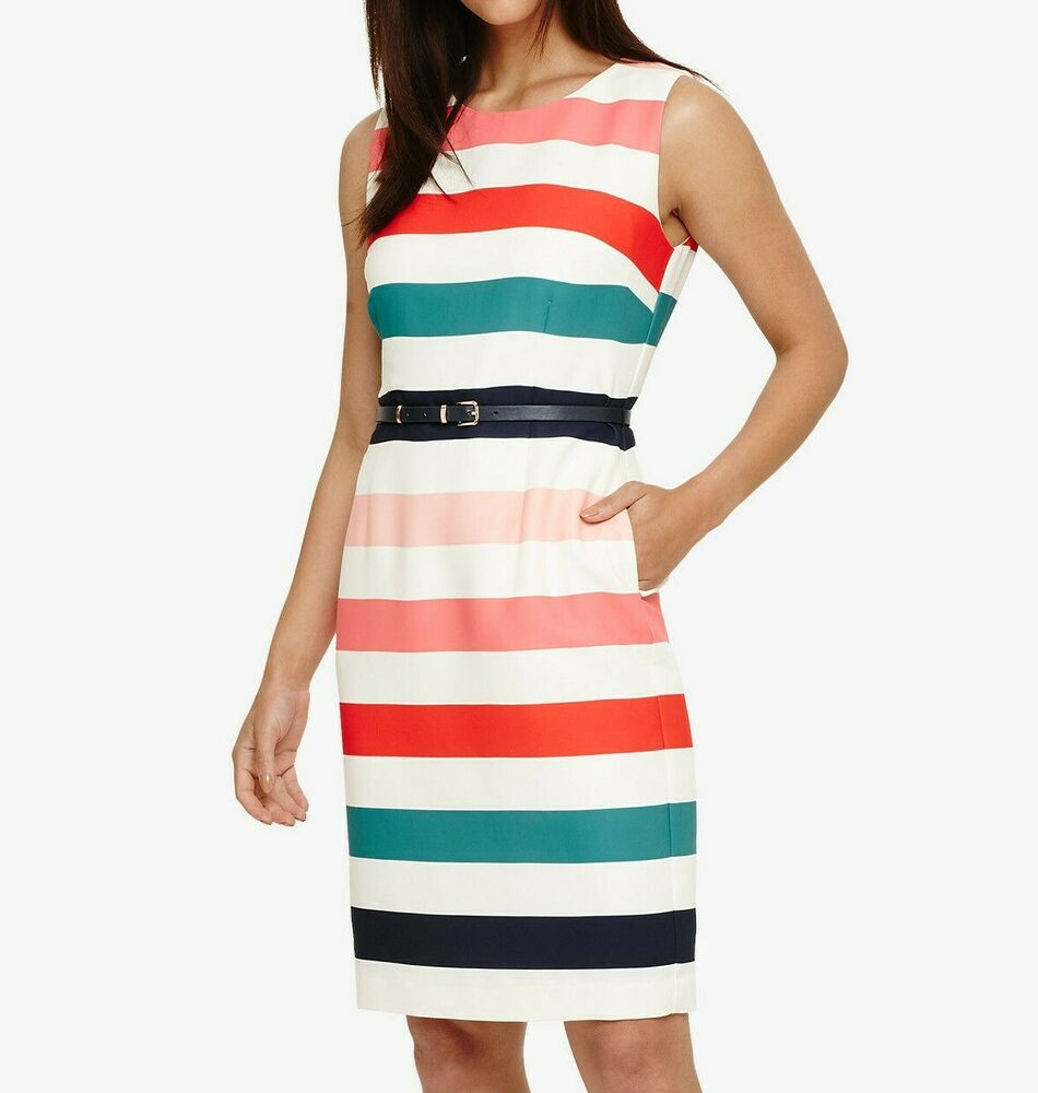 Phase Huit Multi Stripe Faye à Rayures Robe Uk 12; 40 Euros Rrp £ 120