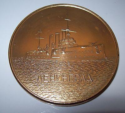 Cruiser Aurora Drip-Dry Medals Coins & Paper Money Trustful Vintage Ussr City Leningrad