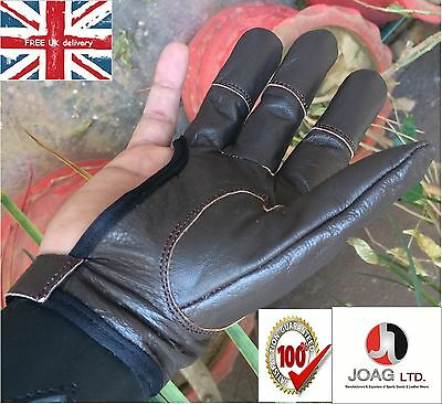 LEATHER SHOOTING 4 FINGER GLOVE HUNTING ARCHERS BOW GLOVES RIGHT /& LEFT HAND