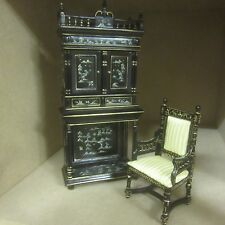 Dolls House Furniture  hand painted Chinoiserie Writing Cabinet and Chair  CA032