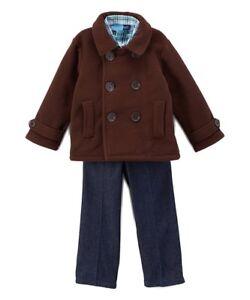 a6901222389c Good Lad ADORABLE Brown Peacoat   Blue Pants Plaid Shirt Set 3 ...