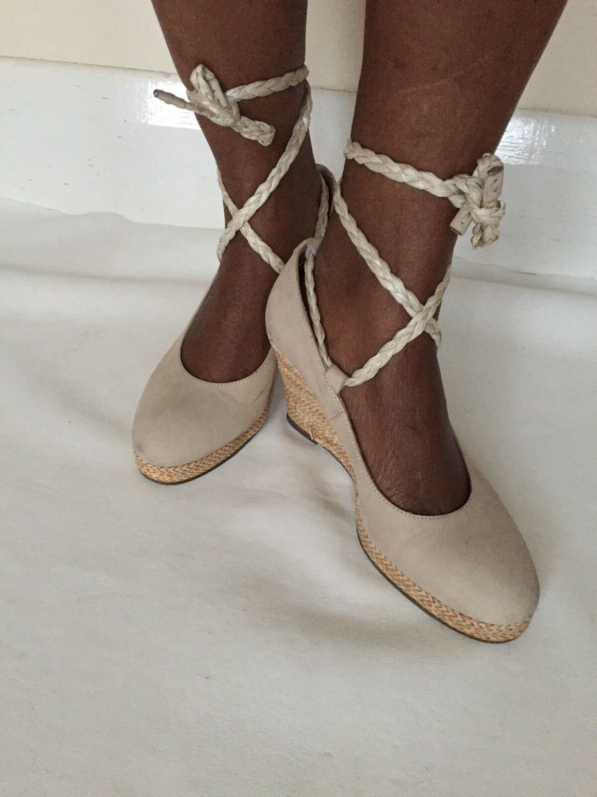 Via Vai Leather Wedge Platform Lace Up Straw Knit Espadrilles shoesBeach Beige 3