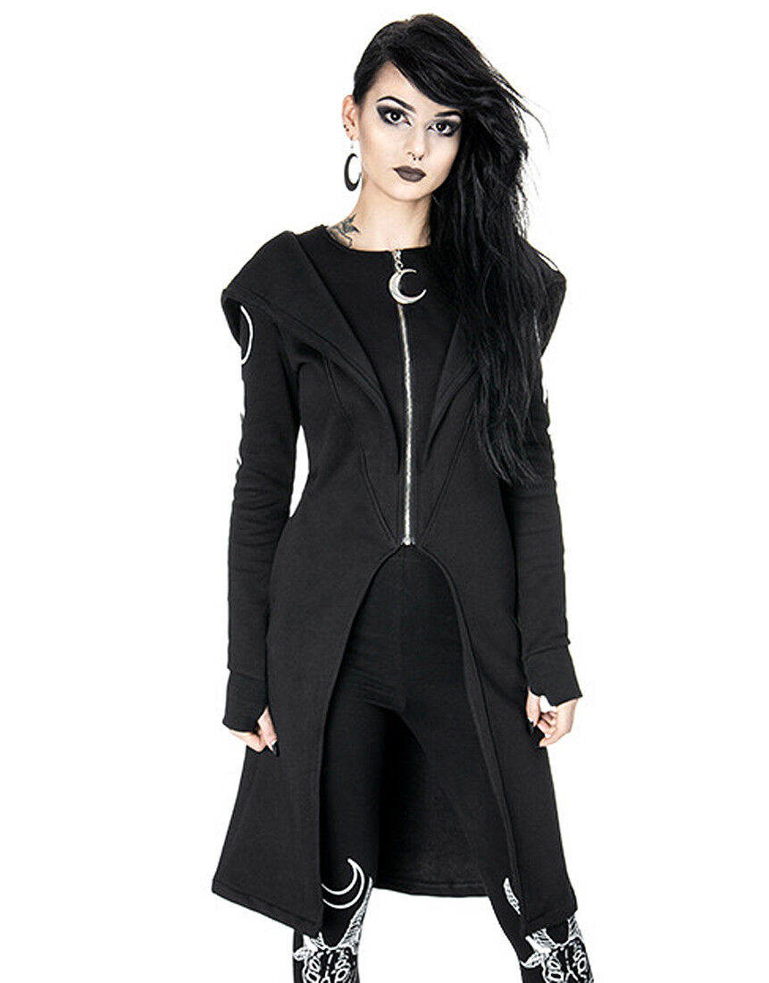 Restyle - SPLIT HOODIE Long, Gothic coat with oversized hood and moon phases