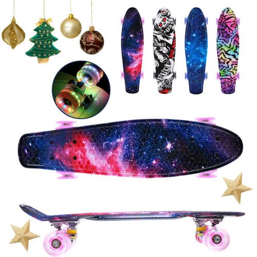 Skateboard Pennyboard 22 in Complete Board Funboard with LED Wheels Boys Girls