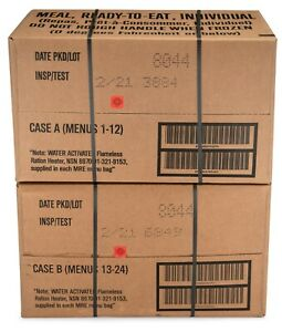 24ct MRE Meals Ready-to-Eat US Military Surplus 2021-inspect, A + B case bundle