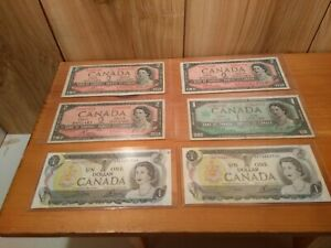 Canada-2-dollar-amp-1-dollar-banknotes-LOT-of-6-incl-1967-amp-2-unc-ones
