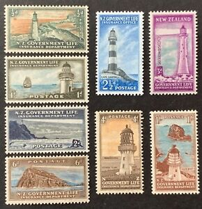 New-Zealand-Life-Insurance-Lighthouse-Stamps-SG-L42-L49-1947-MNH-AF105