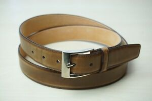 Sutor Mantellassi Whiskey Brown Leather Silver Buckle Belt Sz 44