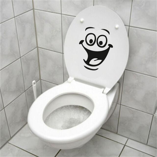 Smiley Face WC Toilet Decal Wall Mural Art Decor Funny Bathroom Sticker Vinyl FO