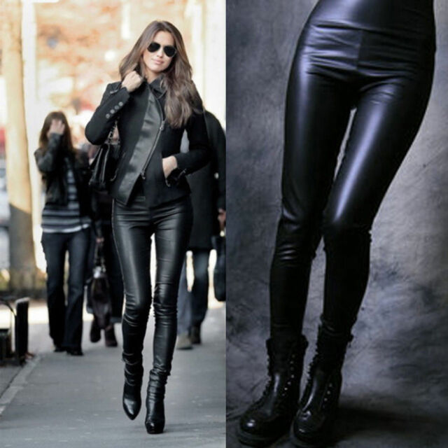 Fashion Women High Waisted Sexy Faux Leather Slim Leggings Skinny Stretch Pants
