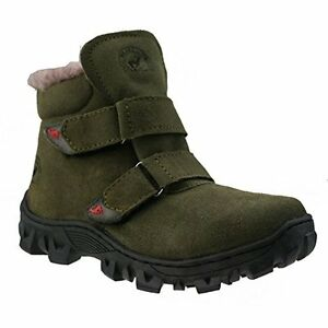 $70 Orgrimmar Children Waterproof Snow Boots Faux Fur Suede Olive size 12.5
