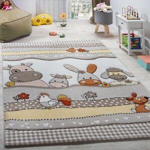 Image Is Loading Grey Nursery Rug Soft Kids Baby Bedroom Carpet