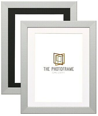 SILVER WOODEN PICTURE FRAME WITH MOUNT AND GLASS