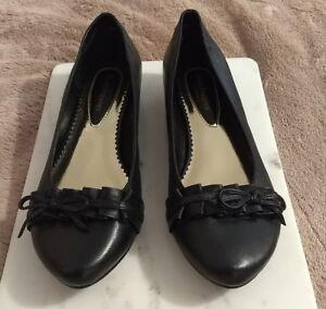 70-Hush-Puppies-Romance-UK-5-Black-Leather-Slip-on-Flat-Shoes-Black-Friday-GIft