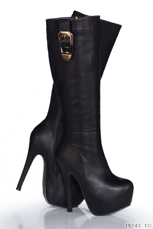Scarpe nero donna stivale stivaletto plateau nero Scarpe con fibbia 37 38 39 bb779c