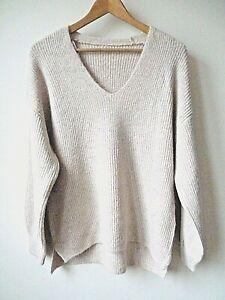 New-Womens-Ex-Principles-Blush-V-Neck-Ribbed-Med-Knit-Oversize-Jumper-Size-8-18