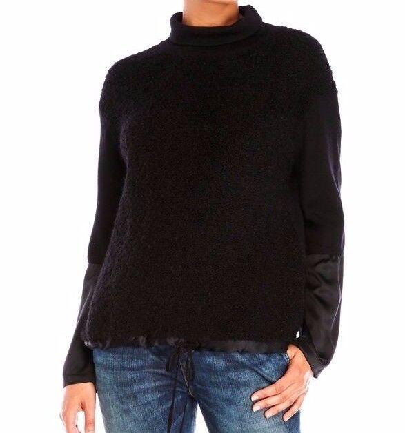 Karen Millen Colourful Stripe Black White Dip Knit Jumper Sweater Top  M 12 40