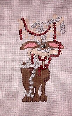 KW 607 Reindeer w// Rollerskates Xmas Stocking HP Hand Painted Needlepoint Canvas