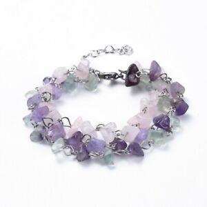 Crystal Gemstone Bracelet Anklet Chakra Chip Silver Rose Amethyst Fluorite Ankle